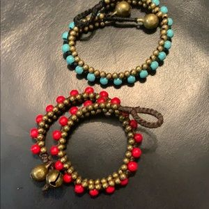 Jewelry - Red and blue turquoise bead and brass bracelets